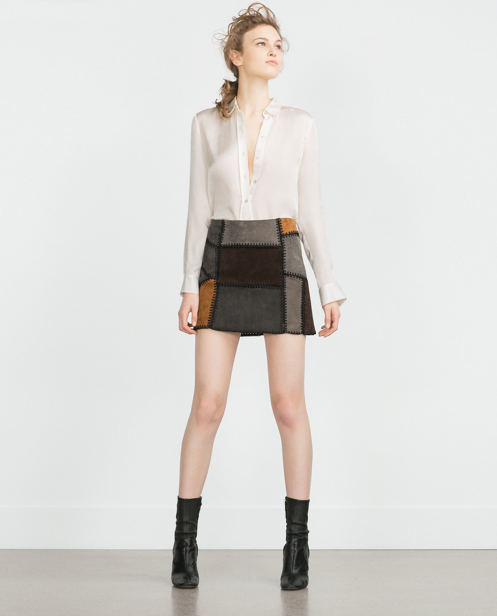 zara patchwork leather mini skirt in gray lyst