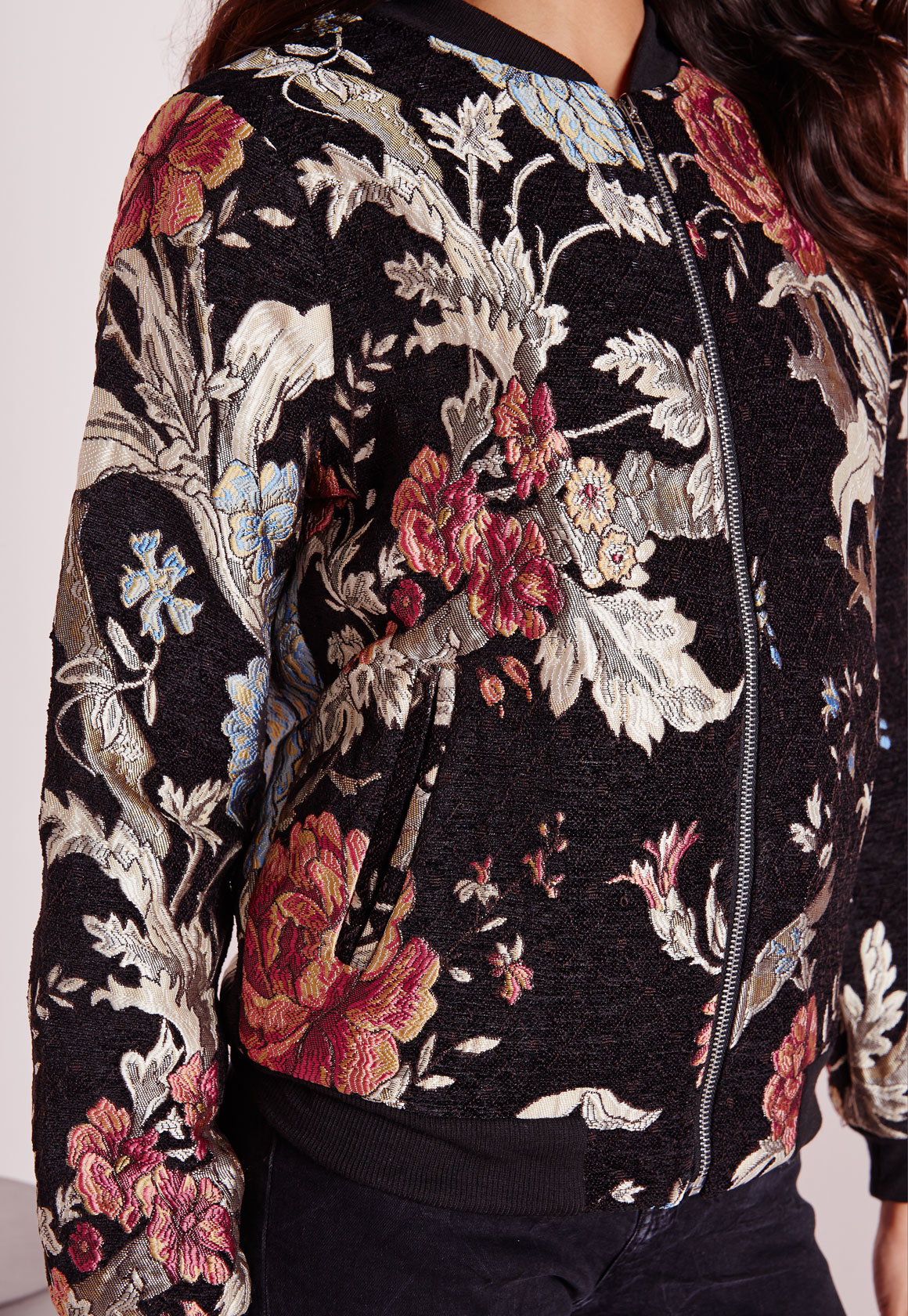 1e41e9a44 Lyst - Missguided Premium Embroidered Floral Bomber Jacket Black