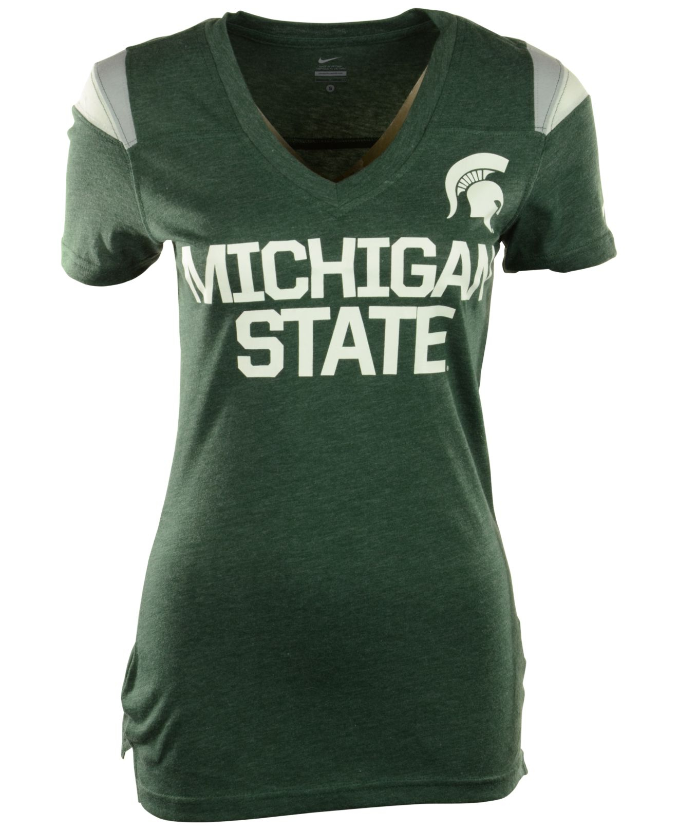 Lyst nike women 39 s short sleeve michigan state spartans v for Michigan state spartans t shirts
