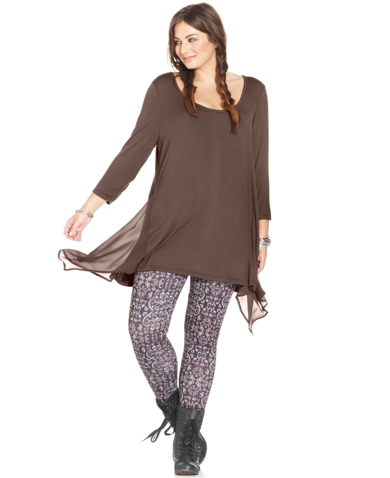 Lyst American Rag Plus Size Handkerchief Hem Top In Brown