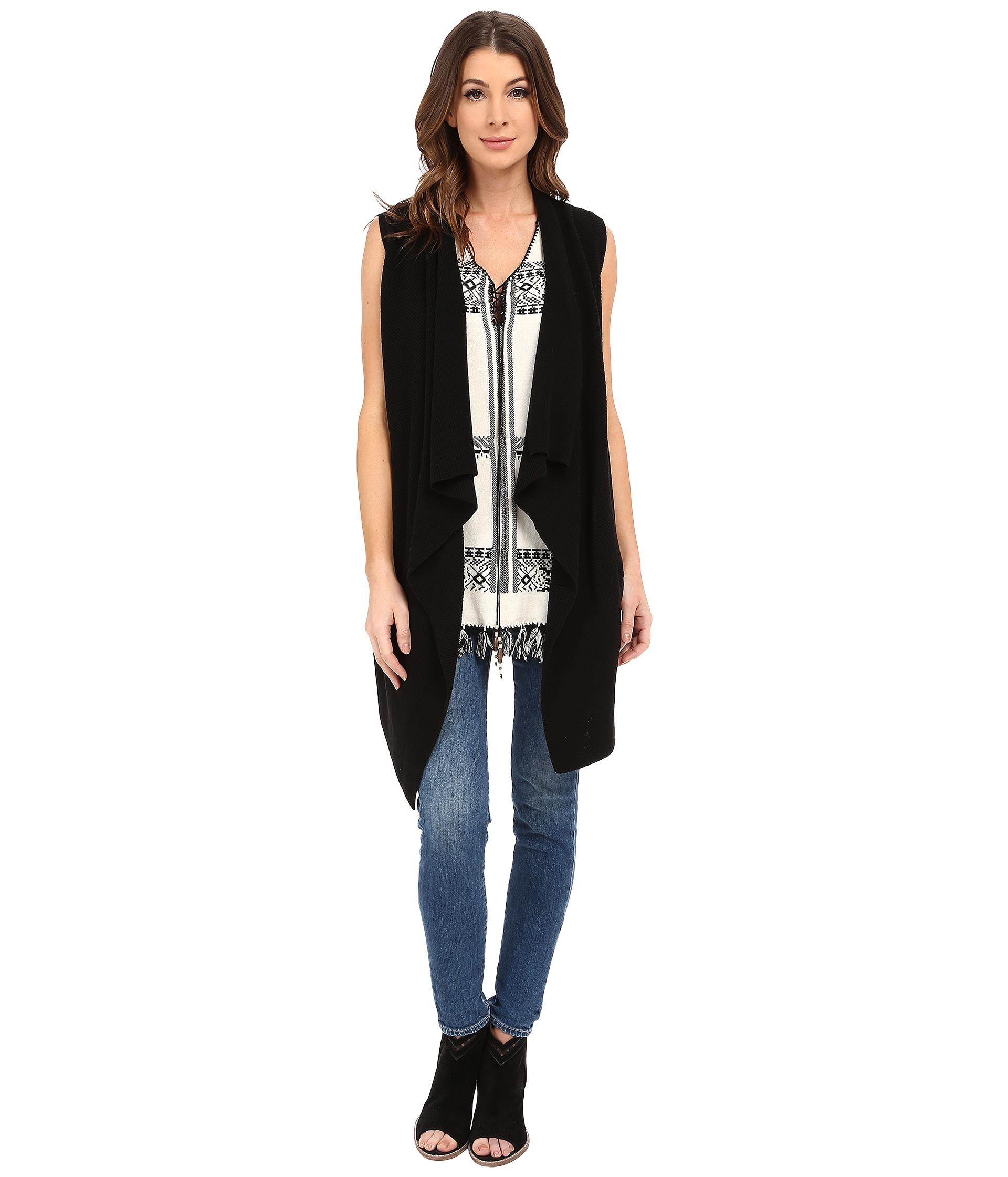 Dylan by true grit Long Drape Sweater Vest in Black | Lyst