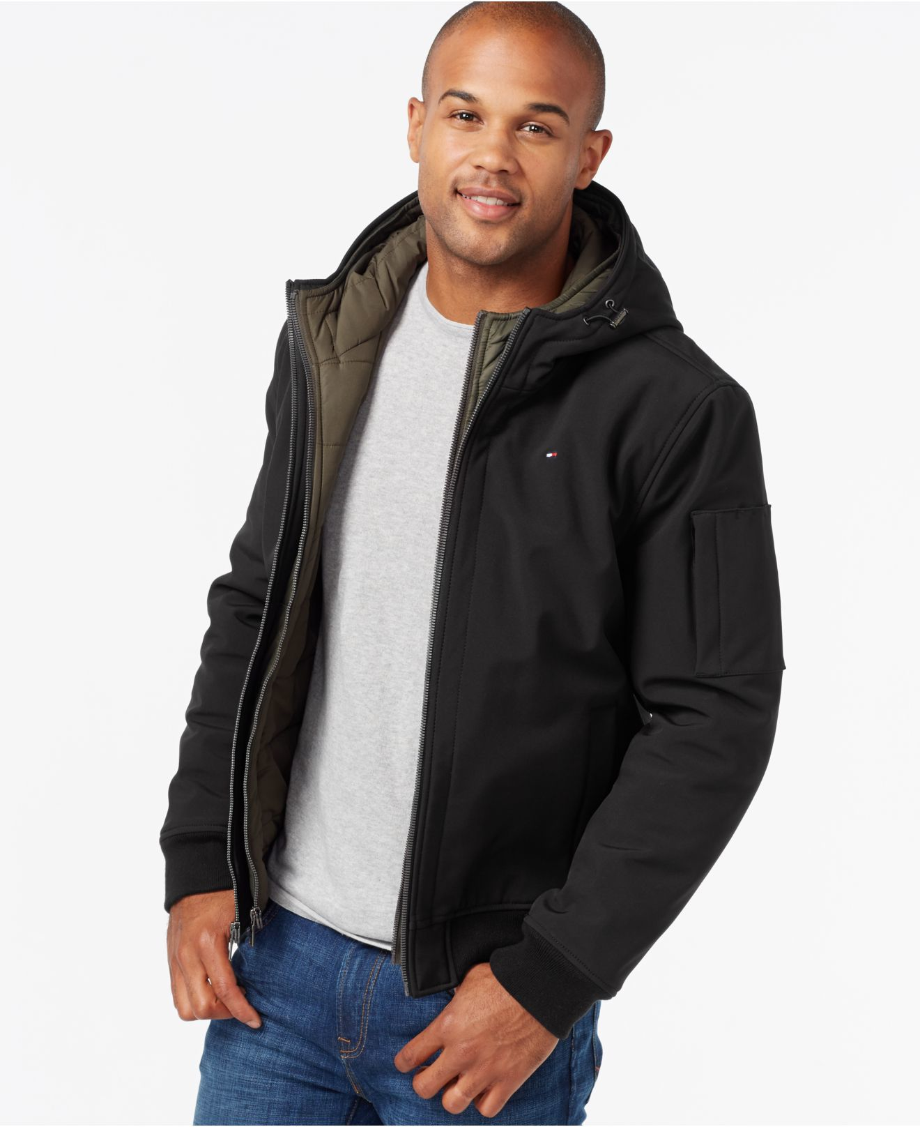 tommy hilfiger soft shell bomber hoodie jacket in black. Black Bedroom Furniture Sets. Home Design Ideas