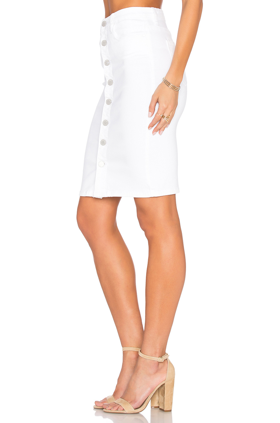 blank white button front pencil skirt in white lyst