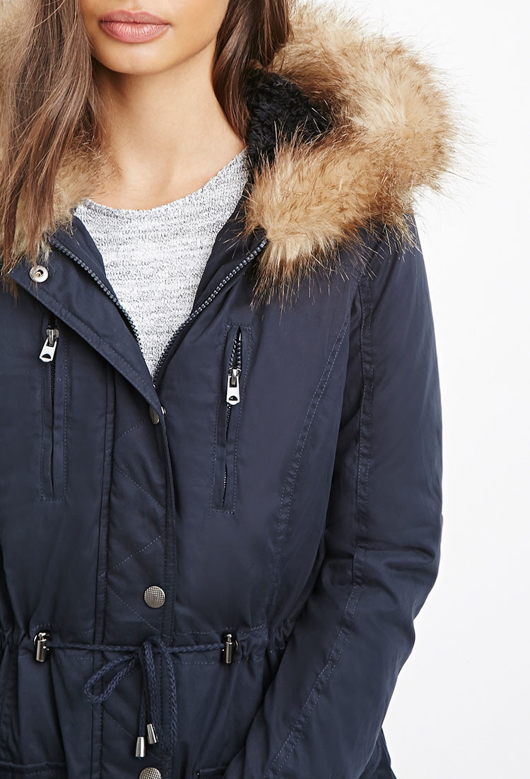 Forever 21 Faux Fur-trim Hooded Parka You've Been Added To The ...