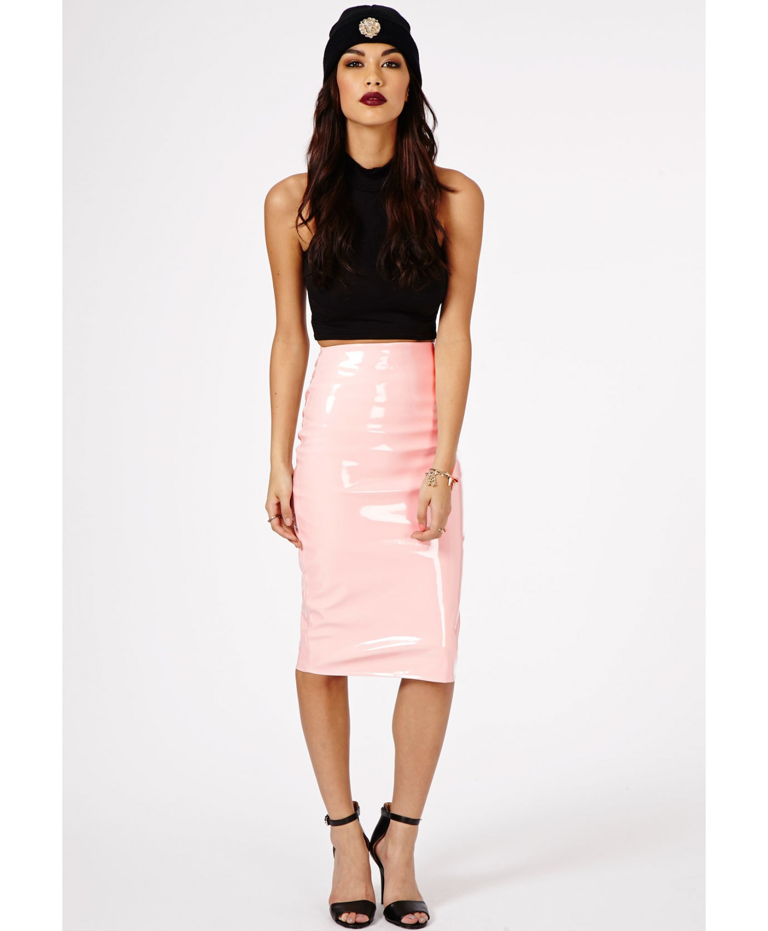Missguided Mircia Pvc Midi Skirt In Baby Pink in Pink | Lyst