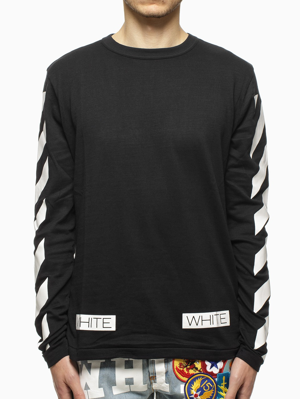 b917582f1a6e Lyst - Off-White c o Virgil Abloh Striped Long Sleeve T-Shirt in ...