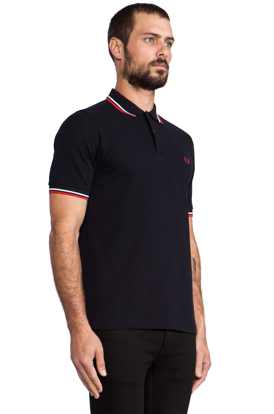 fred perry slim fit twin tipped polo in blue for men navy white red lyst. Black Bedroom Furniture Sets. Home Design Ideas