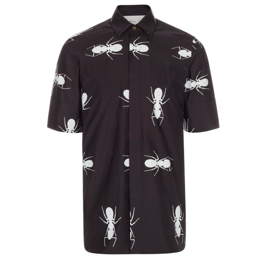 Lyst paul smith men 39 s black placement 39 ant 39 print short for Mens black short sleeve dress shirt