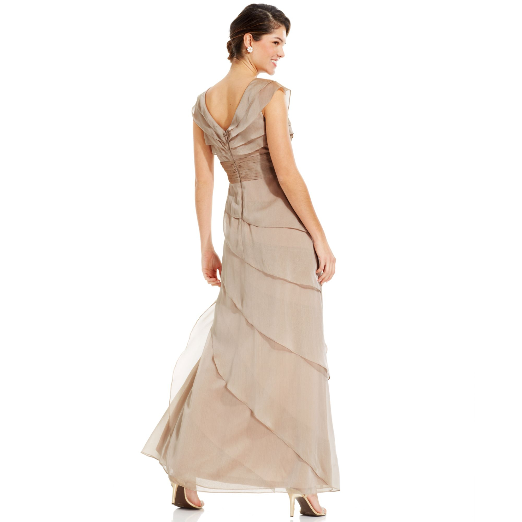 Adrianna papell Tiered Evening Dress in Natural | Lyst