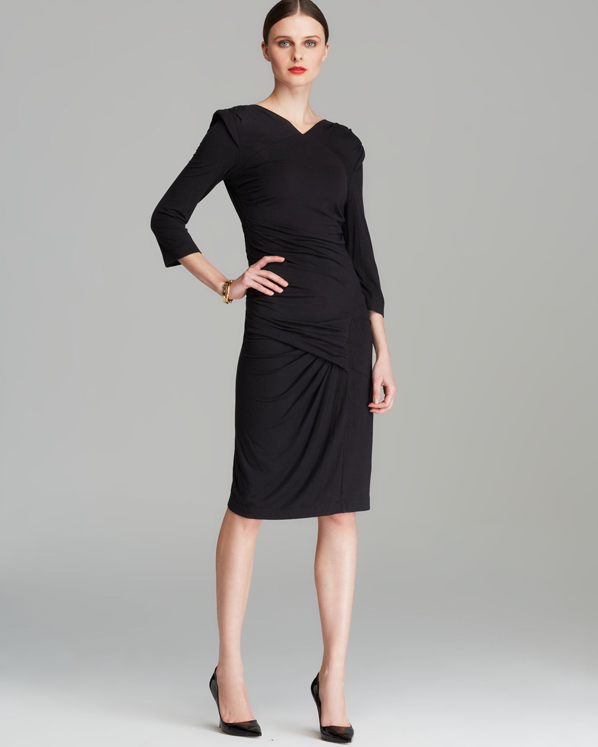 Black dress quarter sleeve - Gallery