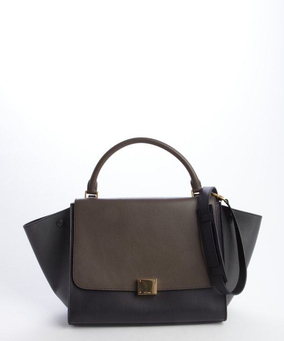 C¨¦line Anthracite Grey and Navy Leather Trapeze Bag in Black ...