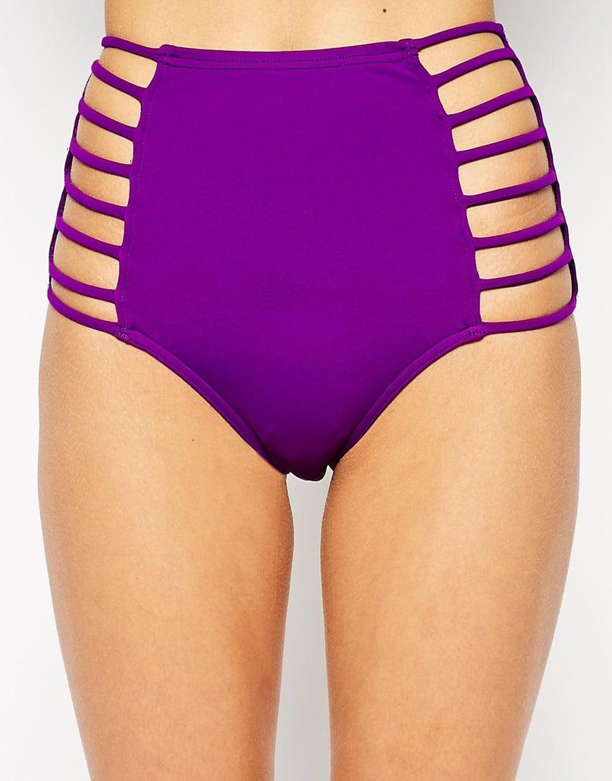 af556cffb4 ASOS Open Strappy High Waist Bikini Pant in Purple - Lyst