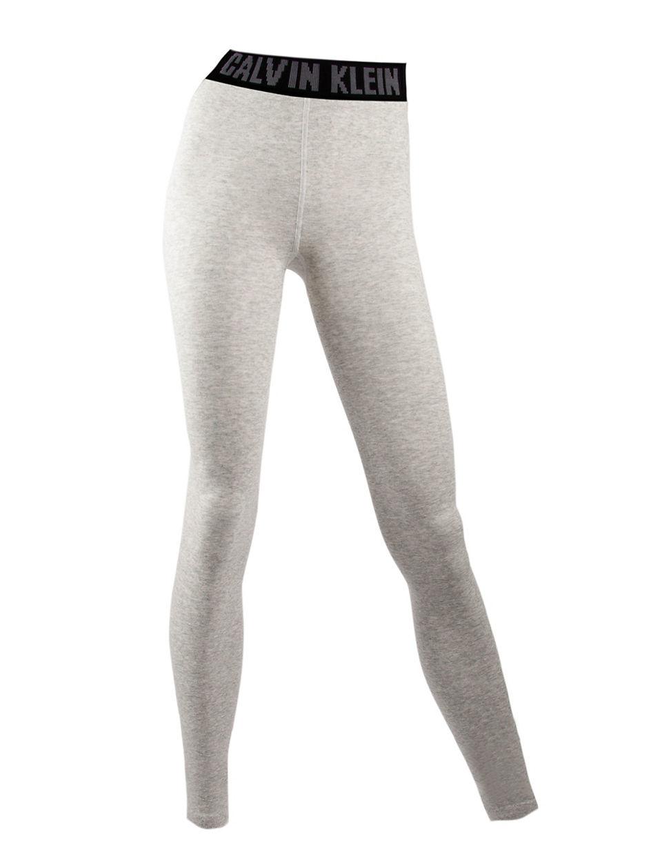 calvin klein logo waistband leggings in gray lyst. Black Bedroom Furniture Sets. Home Design Ideas