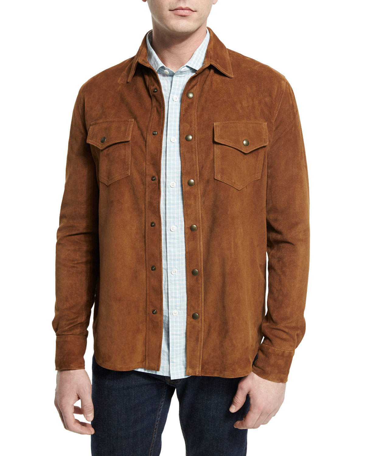 Lyst billy reid suede snap down work shirt in brown for men for Mens chocolate brown dress shirt