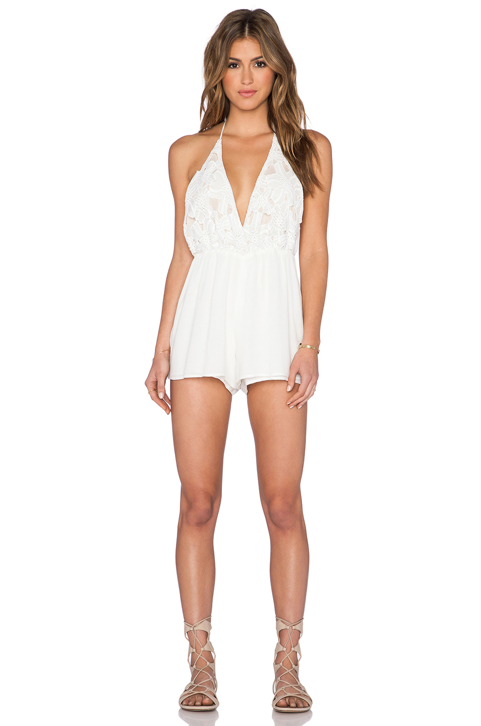 3f9a24960024 Lyst - Liv Shelly Halter Romper in White