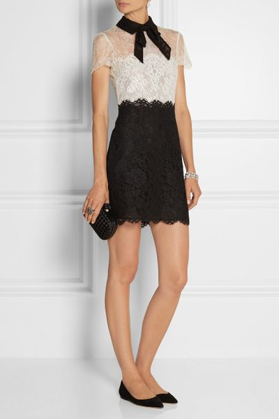 Valentino Pussy Bow Lace Mini Dress In Black White Lyst