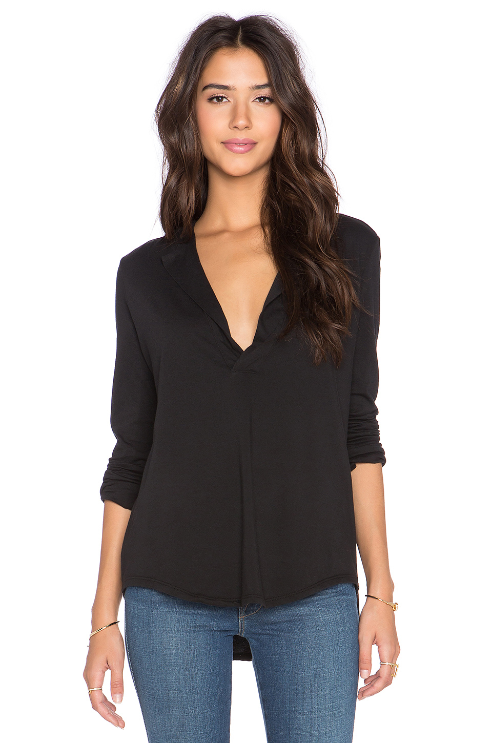 James perse open henley top in black lyst for James perse henley shirt