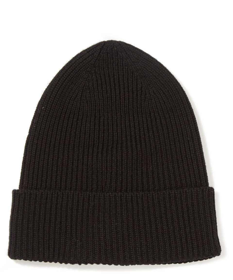 cf74d086d13 Moncler Black Ribbed-knit Wool Beanie Hat in Black for Men - Lyst