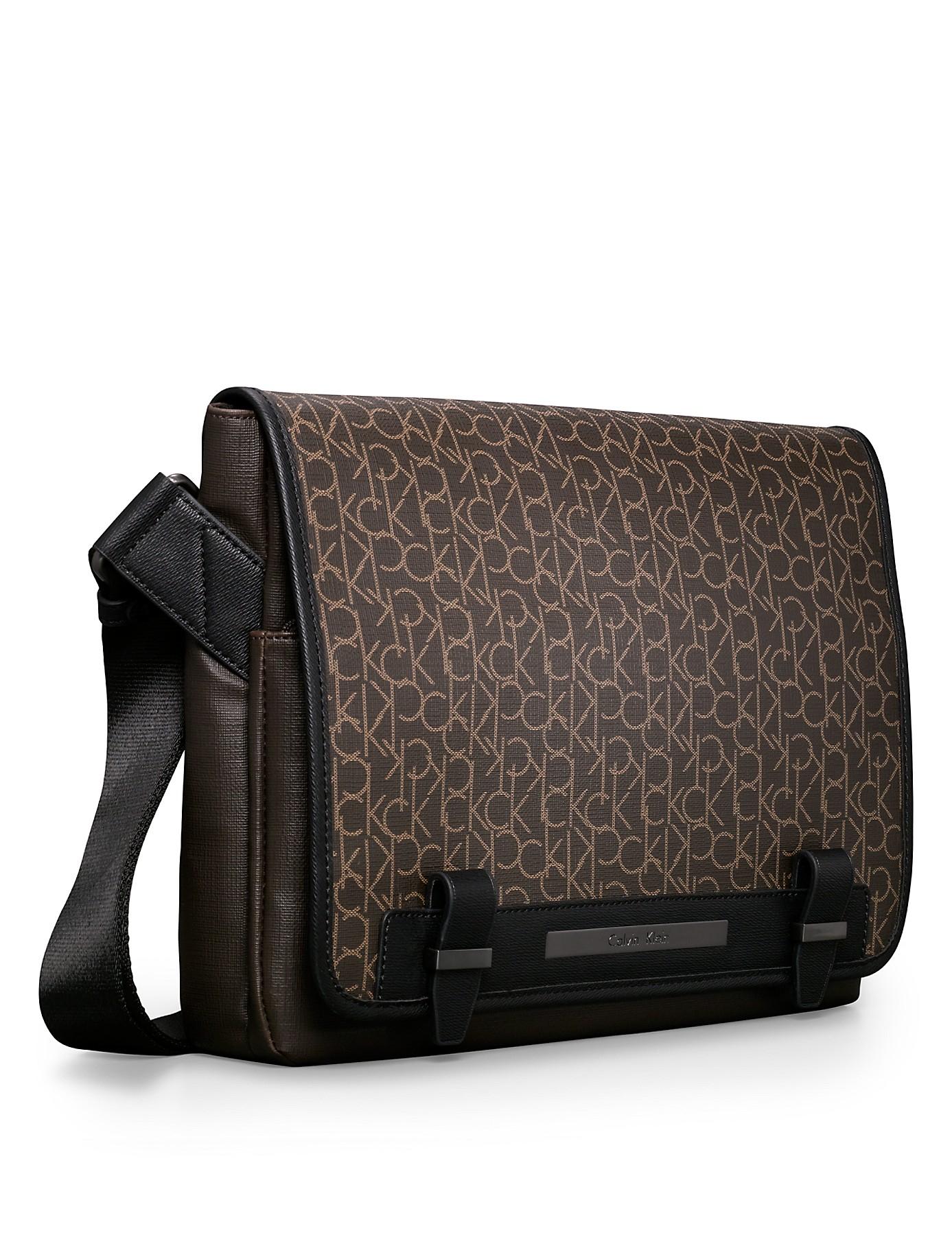 Lyst Calvin Klein White Label Ck Coated City Messenger Bag In Brown For Men