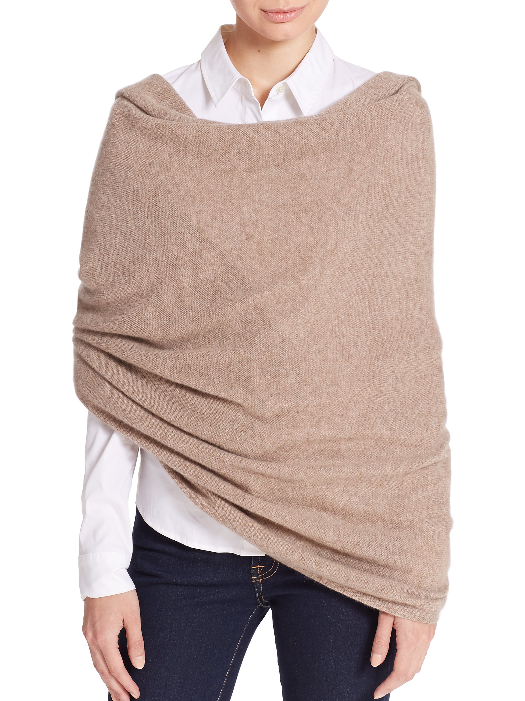 White + warren Cashmere Travel Wrap in Brown (clay heather ...