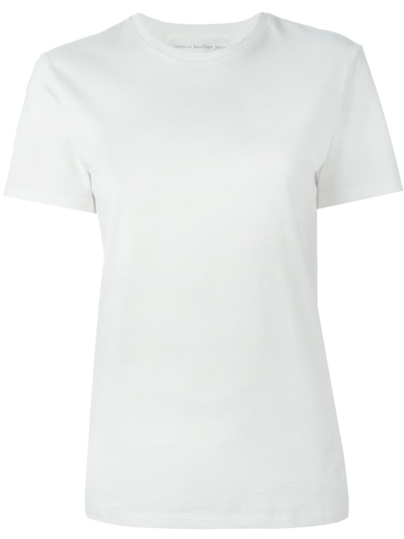 Lyst victoria beckham crew neck t shirt in white for Crew neck white t shirt