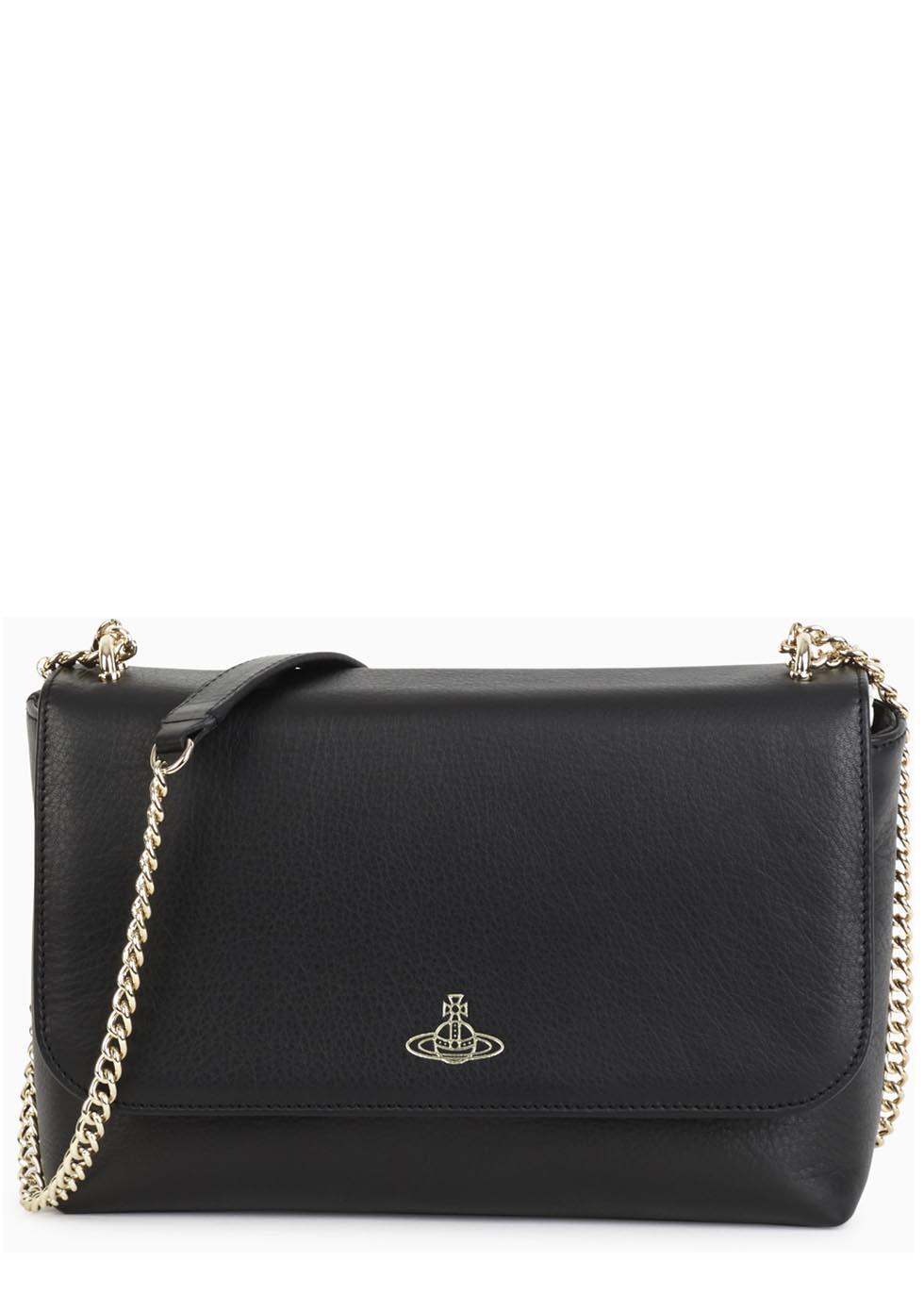 43bf6cbcf4 Vivienne Westwood Spencer Black Leather Shoulder Bag in Black - Lyst
