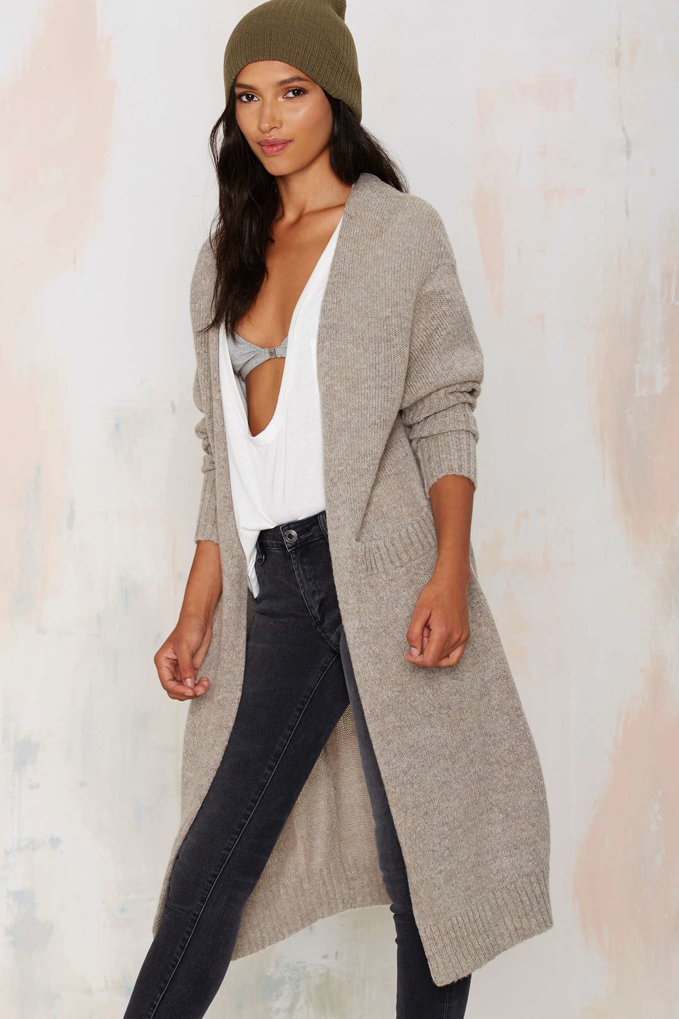 Nasty gal So Heated Duster Cardigan in Natural | Lyst