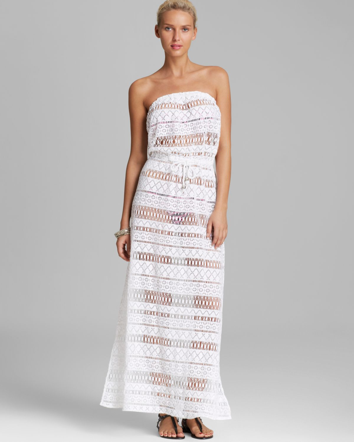 Lyst Milly Crochet Pahala Maxi Dress Swim Cover Up In White
