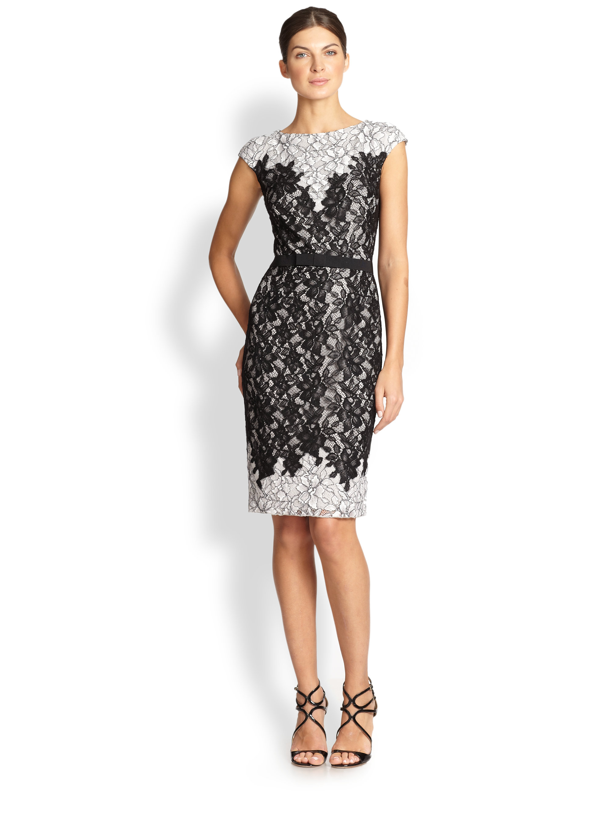 Lyst Tadashi Shoji Contrast Lace Cocktail Dress In Black