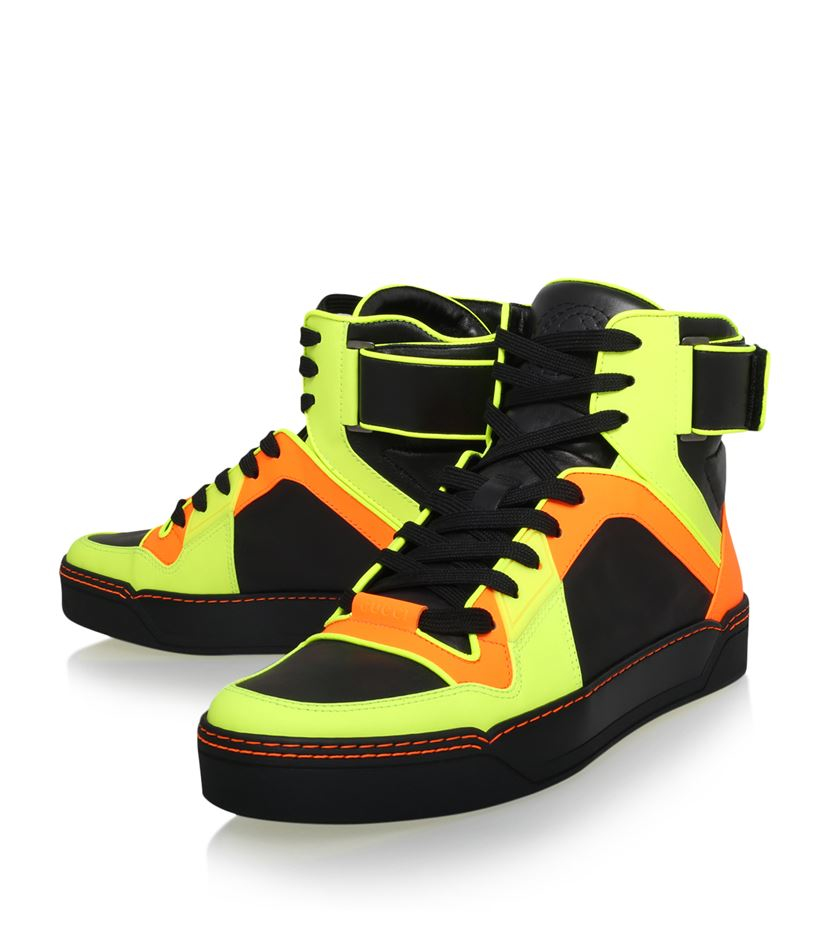 gucci basketball high top neon sneaker for men lyst. Black Bedroom Furniture Sets. Home Design Ideas