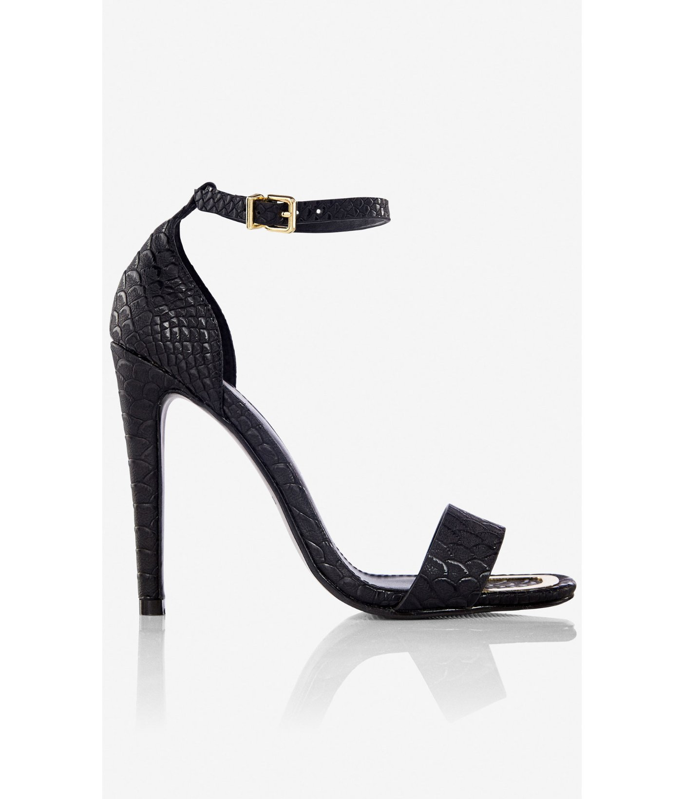 ebe5f579cbe2 Lyst - Express Square Toe Sleek Heeled Sandal in Black