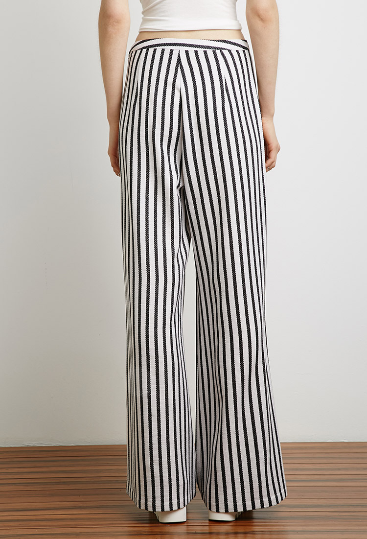 Forever 21 Striped Wide Leg Pants In Black Lyst