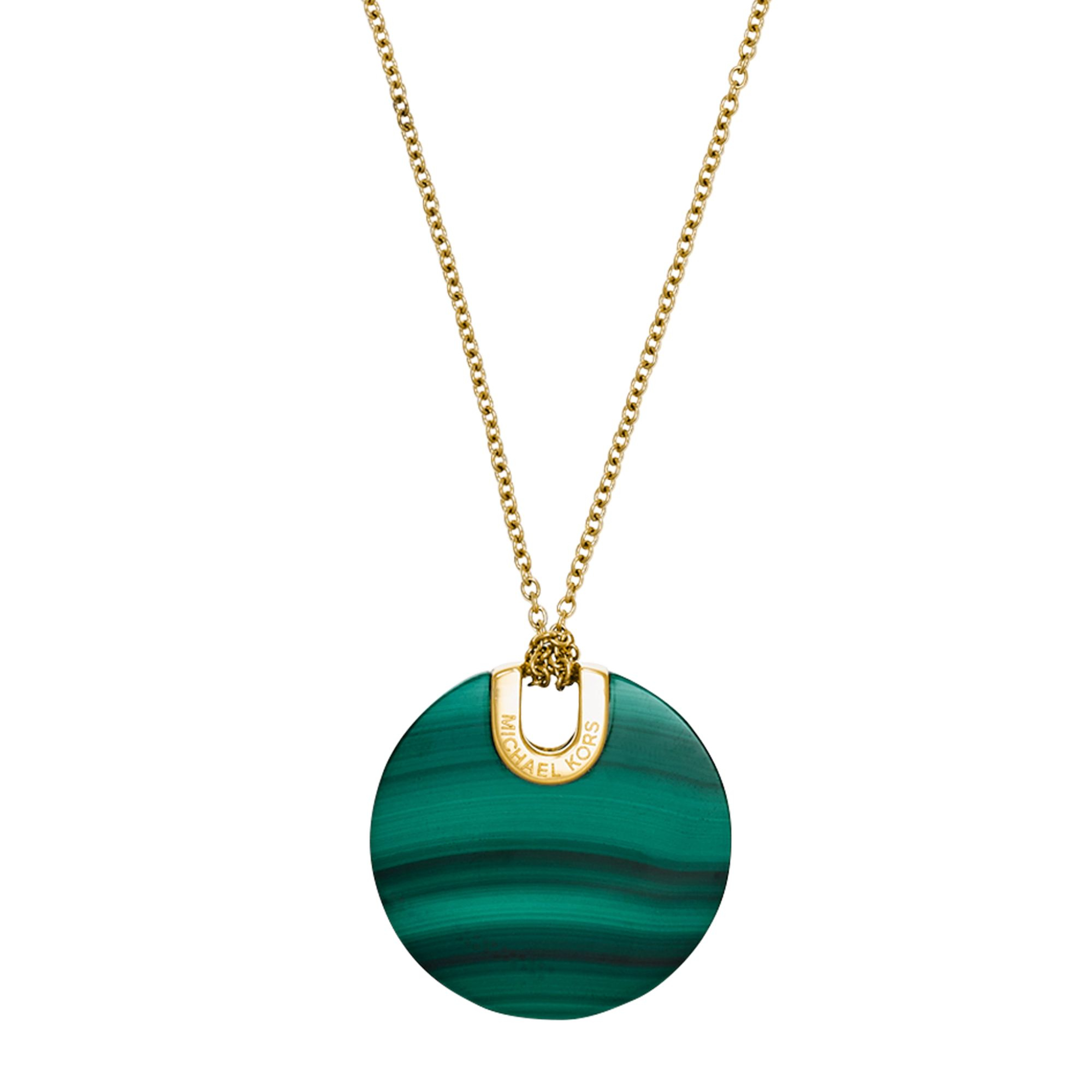 michael kors gold tone malachite pendant necklace in