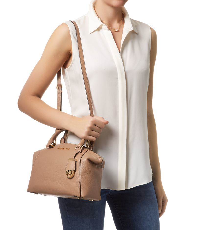 0a5025845231 ... france michael kors small riley satchel in natural lyst 110c1 263e8