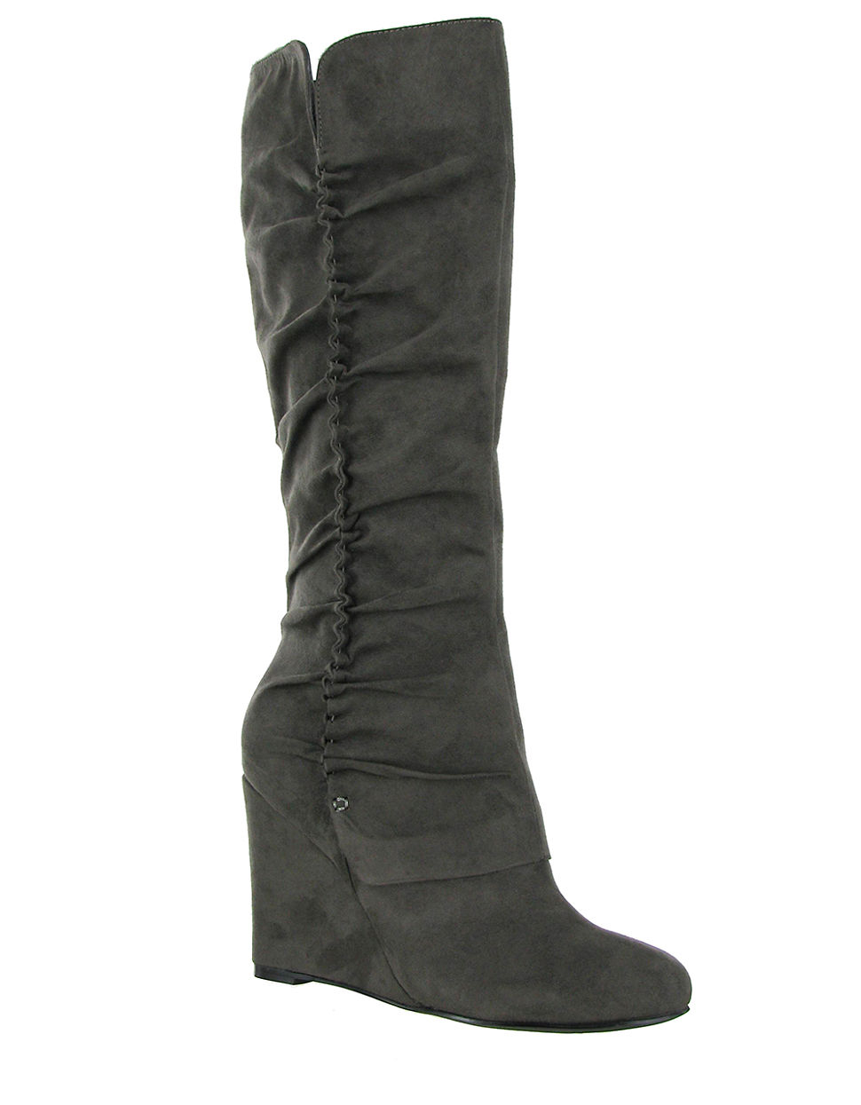 renee faux suede wedge boots in gray grey lyst