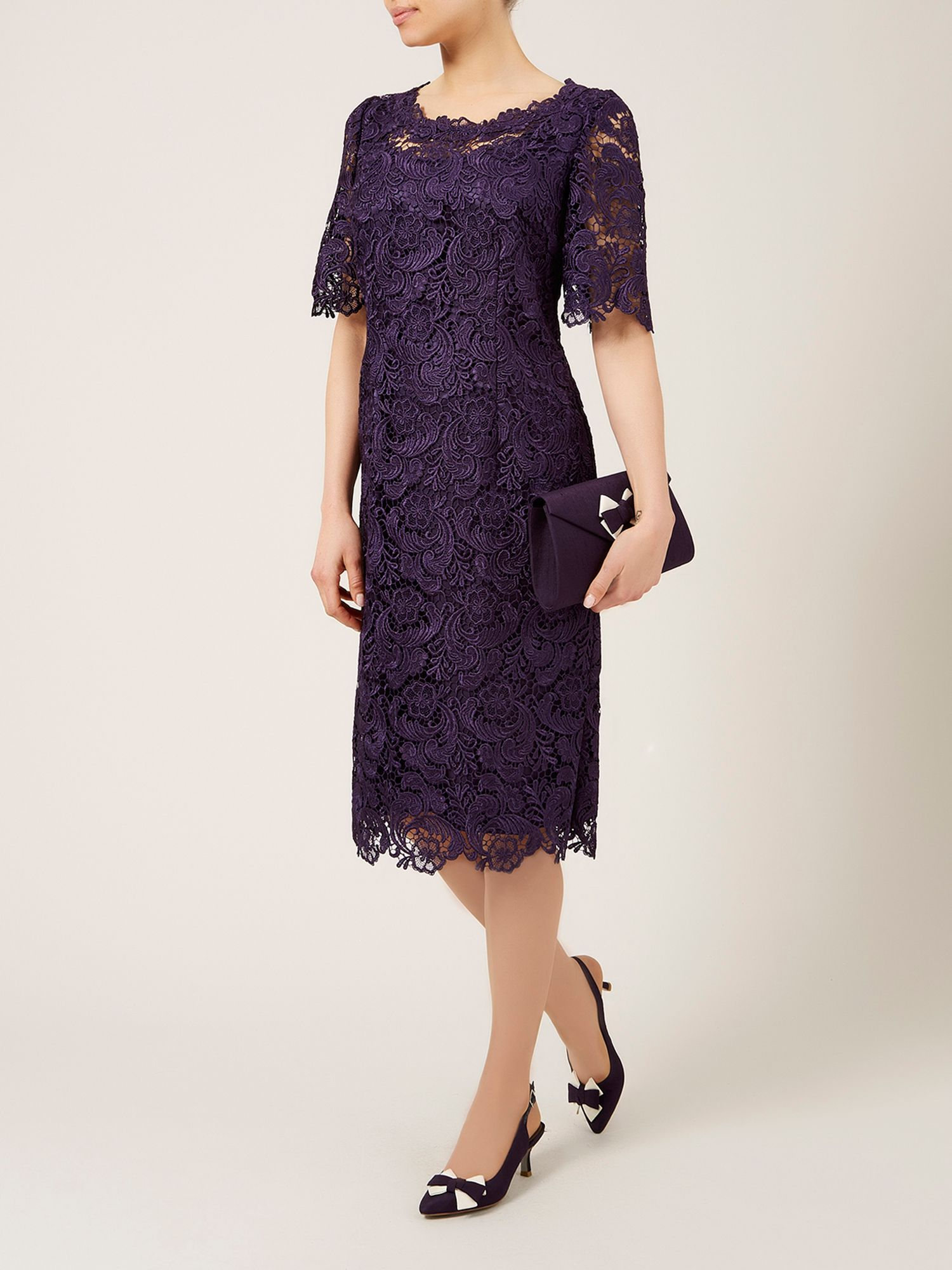 Lyst jacques vert luxury lace dress in purple for Luxury clothing
