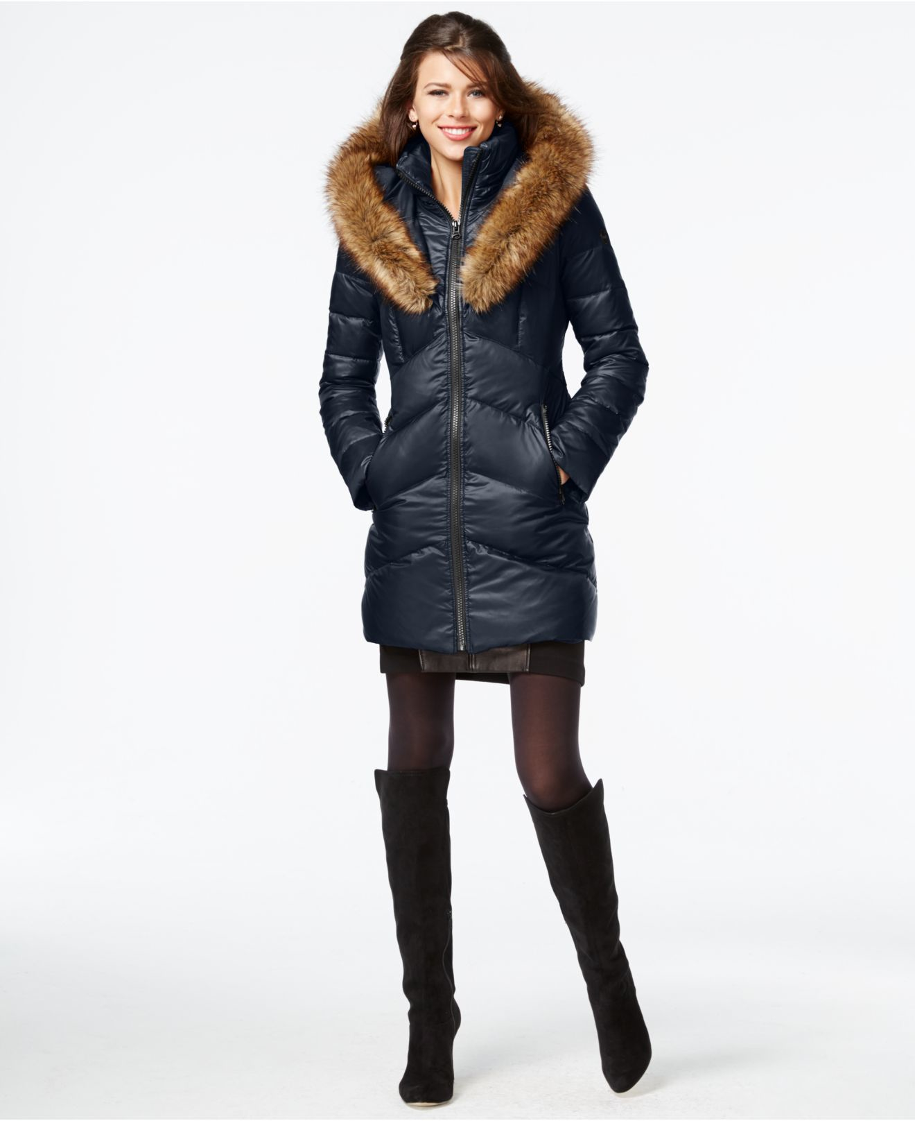 Lyst - Kensie Faux-fur-trim Shawl-collar Quilted Coat in Blue : quilted fur coat - Adamdwight.com