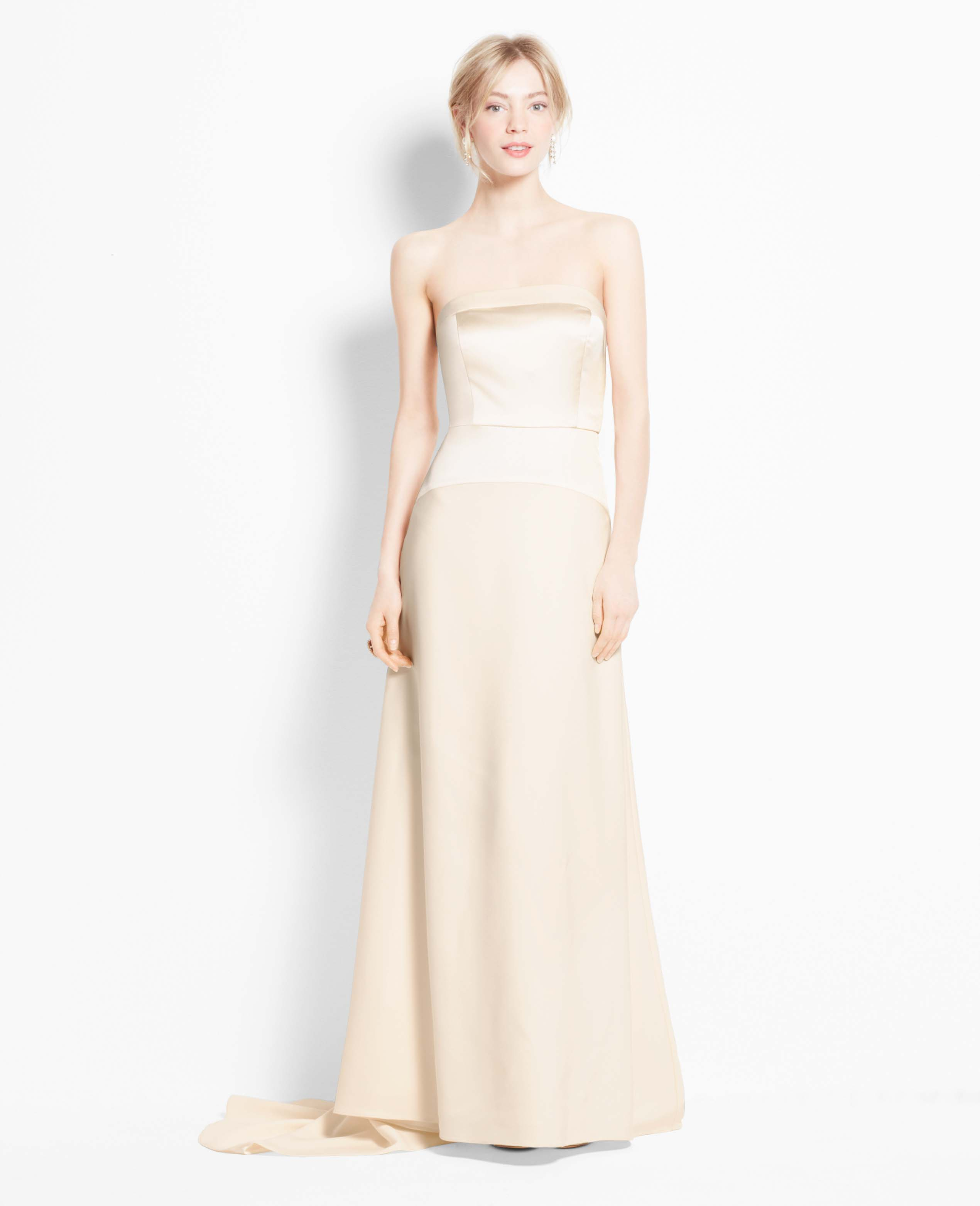 Ann taylor satin bodice strapless wedding dress in beige for Wedding dresses ann taylor