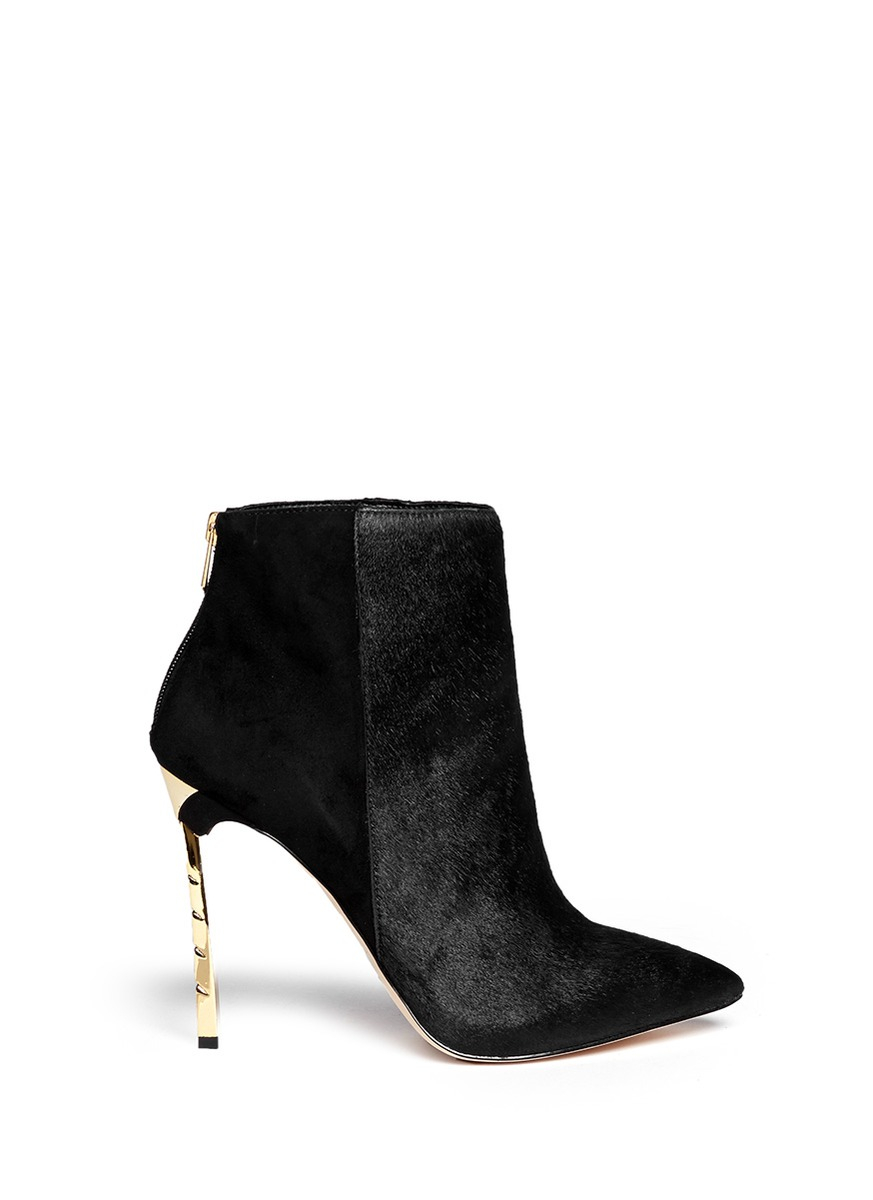 Black Suede Cut Out Ankle Boots River Island