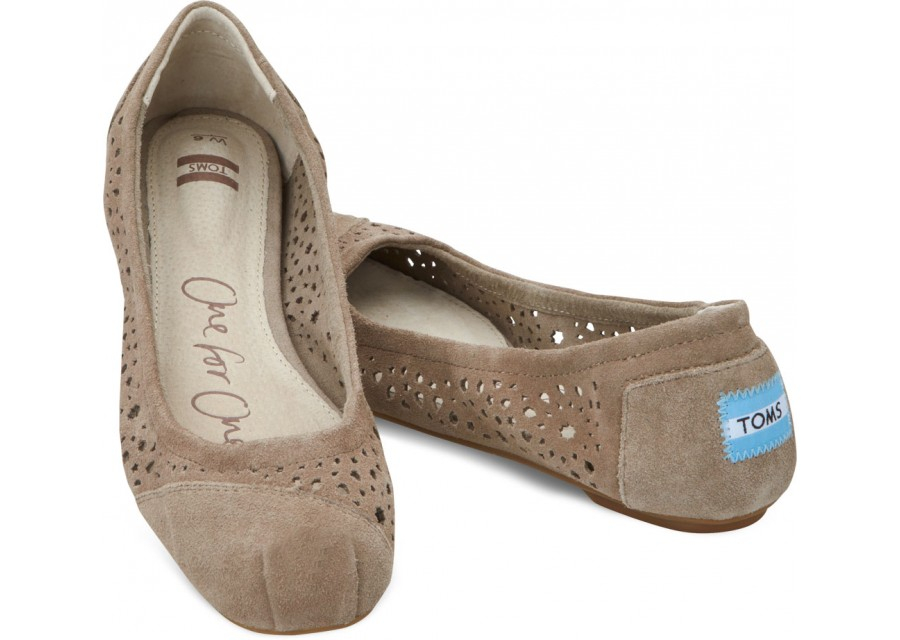 22254809b89d Lyst - TOMS Taupe Moroccan Cutout Womens Ballet Flats in Brown