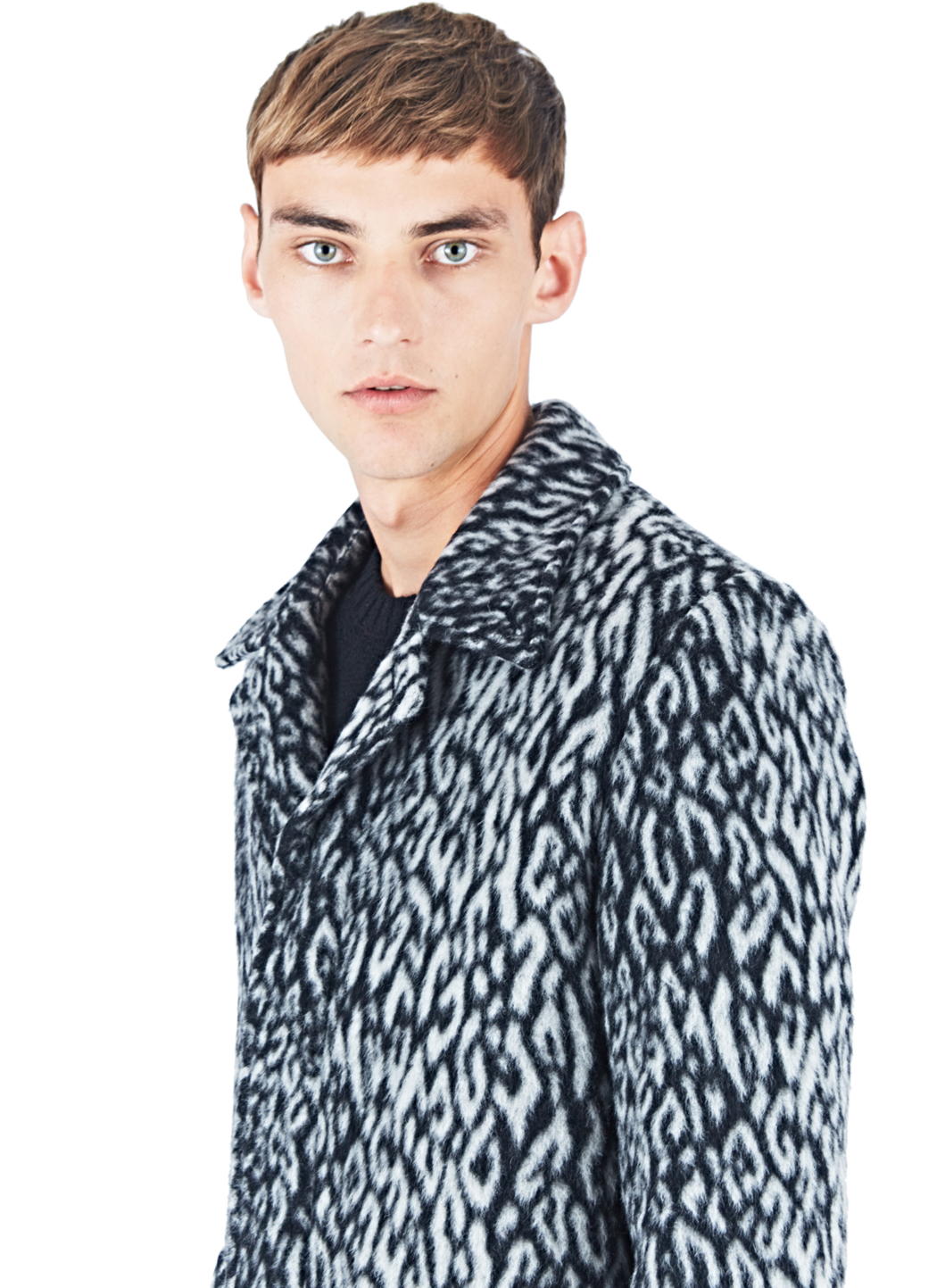 9750e21c Leopard Leopard Lyst Lyst Lyst Blue Laurent Men Faux Print Fur Coat for in  Saint 4p4EqxR