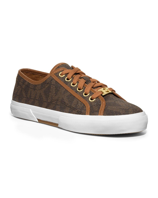 lyst michael kors boerum perforated logo sneaker in brown. Black Bedroom Furniture Sets. Home Design Ideas