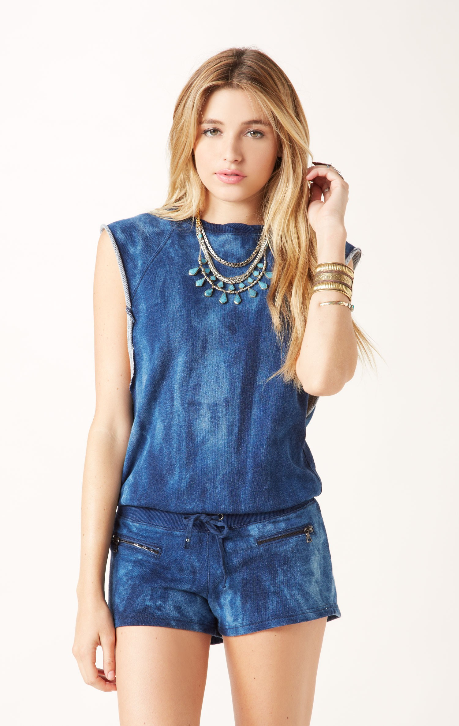 48f04fa5091 Pam U0026 Gela Short Sleeve Romper In Blue (indigo)