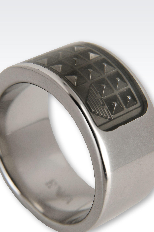 emporio armani ring in metallic for lyst