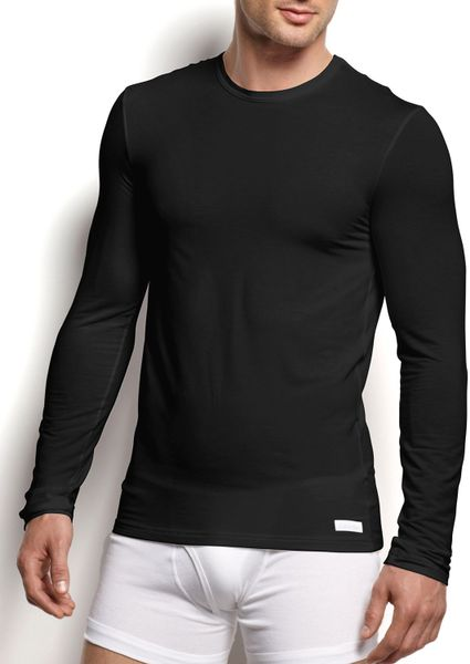 Calvin klein long sleeve crewneck modal tee in black for for Modal t shirts mens