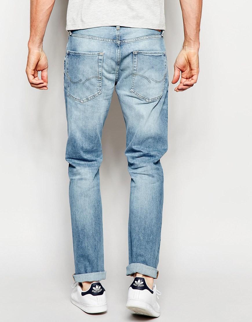jack jones light wash jeans in straight fit in blue for men lightblue lyst. Black Bedroom Furniture Sets. Home Design Ideas