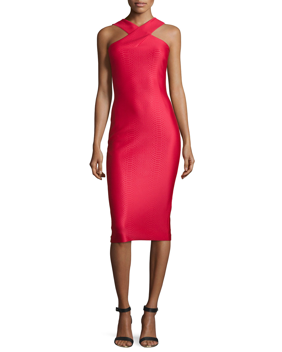 3c7165181974a Ted Baker Erskine Snake-embossed Sheath Dress in Red - Lyst