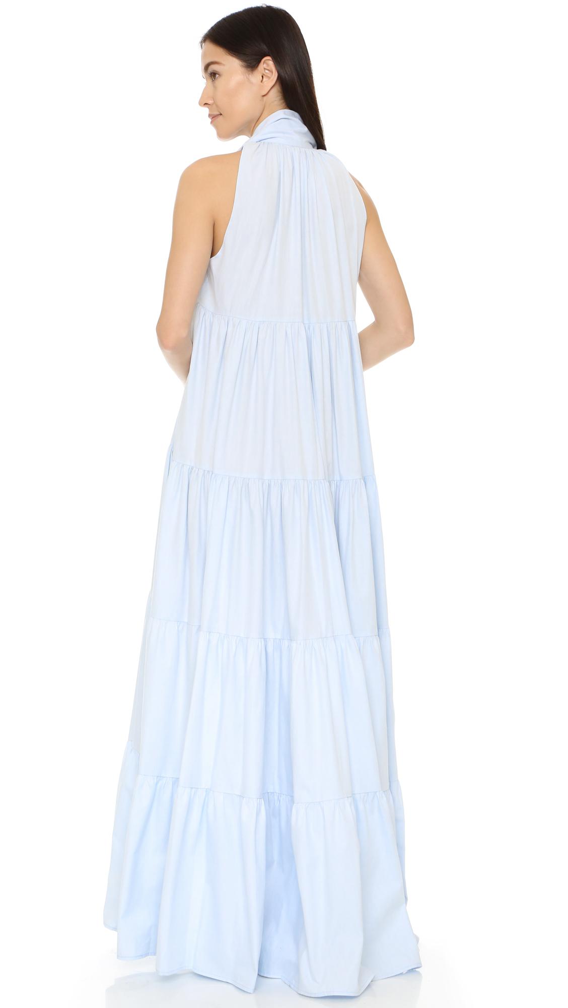 Lisa Marie Fernandez Chambray Babydoll Maxi Dress In Blue