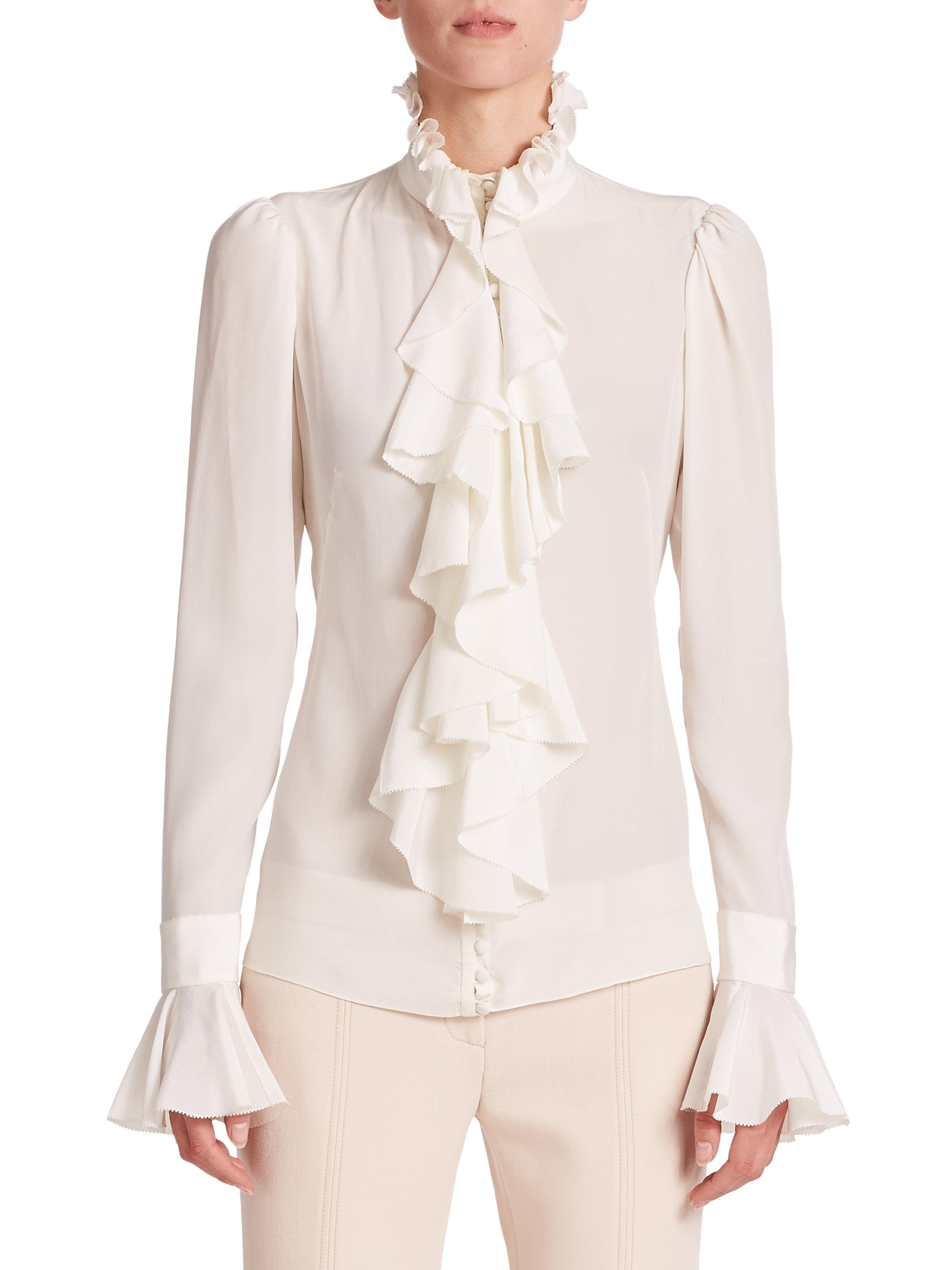 a2f134d4c986 Lyst - Alexander McQueen Silk Ruffle Blouse in White