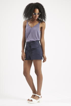 d4d394fca627 Lyst - TOPSHOP Lace-up Shorts in Blue